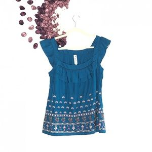Floreat Floral Silk Embroidered Cap-Sleeve Blouse